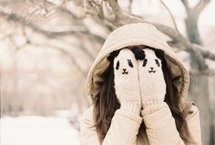 hide face in fuzzy gloves when it is cold  via My Darling Rainbow http://mydarlingrainbow.tumblr.com