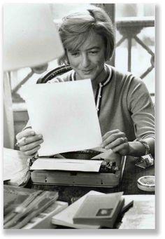Françoise Sagan writing with typewriter and reading, Paris, November 24th, 1961…