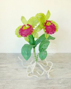 French Beaded Cattelya Orchid Sculpture by LaurenHCreations