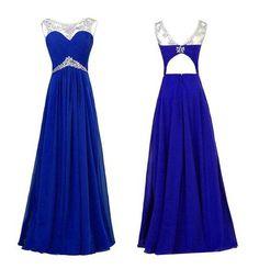 Chiffon Royal Blue Beaded Long Prom Evening Dresses,A-Ling prom dress,Sleeveless prom dress