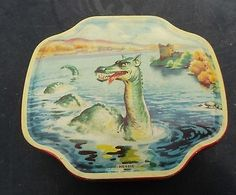 Hard to find Loch Ness antique Horner tin measures long, 4 wide and 1 tall. Loch Ness Monster, Nessie Monster, Vintage Candy, Vintage Tins, Vintage Labels, Monster Decorations, Tin Can Alley, Vintage Picnic, Tin Art