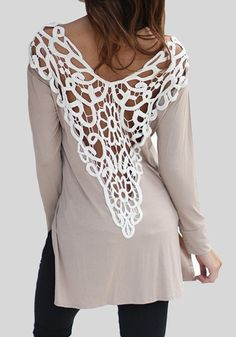 Love the Lace! Grey Hollow-out White Lace Backless Long Sleeve Fashion Cotton T-Shirt #White #Lace #T_Shirt #Fashion
