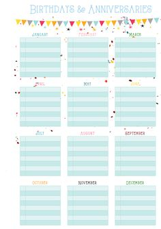 FREE printable Birthdays & Anniversaries on One Page | MsWenduhh Planners & Printables