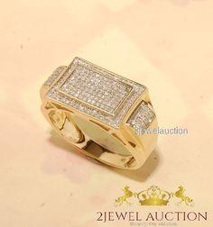 14k Yellow Gold Mens Round Diamond Wedding Engagement Pinky Ring Band 1.50 Ct #2jewelauction #Band