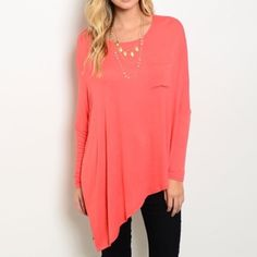 Coral Dolman Tunic Top Jersey knit asymmetrical dolman tunic top with chest pocket. 96% rayon, 4% spandex. Super soft! Lightweight. Perfect for those cool summer nights. No trades. Solemio Tops Tunics