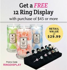 Beautiful Velvet 12-ring display.Yours absolutely FREE when you spend $45 or more.  Use promo code RINGDISPLAY. Shop Now!  www.jewelscent.com/KarinGriffis (cannot be combined with other offers)