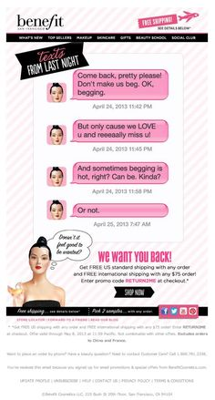 Benefit Re-engagement email Email Marketing Design, Email Design, Small Business Marketing, Business Tips, Newsletter Ideas, Newsletter Design, Engagement Emails, Best Email, Beauty Creations