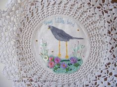 hand painted and embroidered on vintage doily