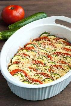 Fresh summer squash and zucchini are baked up with a crunchy Parmesan topping to make this easy and delicious low carb squash gratin recipe. (Bake Squash And Zucchini) Veggie Dishes, Vegetable Recipes, Food Dishes, Vegetarian Recipes, Vegetarian Cooking, Fresh Tomato Recipes, Vegetarian Barbecue, Paleo Meals, Healthy Foods