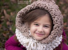 A crochet pattern for a gorgeous hooded cowl! Includes baby, toddler, kids, and adult sizes. $3.99 includes all sizes.