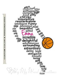 Personalized Girl Basketball Player Art, Unique Handmade Word Art Typography, Basketball Player Word Art, PRINTABLE DIGITAL FILE
