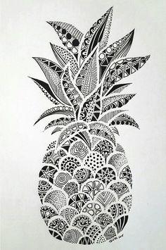 Pineapple Doodle | Plants and flower doodles - Perfect for sketchbooks, art journals and sketchbooks.