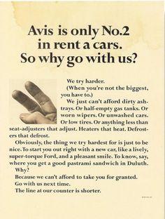 Avis is No. 2, Bill Bernbach for Doyle Dane Bernbach, 1962