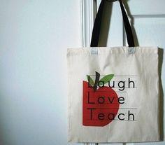Laugh Love Teach tote bag