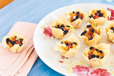 Goat's cheese, roasted capsicum and olive tartlets