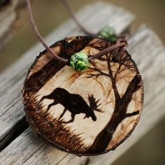 Wood totem animal elk deer necklaces for guys. Woodburning art deer elk jewelry gifts for a hunter Wood Slice Crafts, Wood Burning Crafts, Wood Burning Patterns, Wood Burning Art, Wooden Art, Wooden Crafts, Christmas Wood, Christmas Crafts, Wooden Jewelry