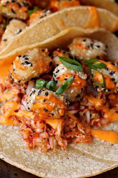 Sesame Crusted Tofu Tacos with Korean Slaw and Gochujang Aioli - Maury Cranidge Spicy Recipes, Veggie Recipes, Asian Recipes, Vegetarian Recipes, Ethnic Recipes, Asian Desserts, Keto Recipes, Healthy Recipes, Gochujang Recipe