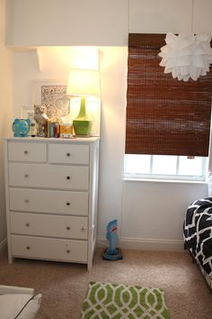 How to make a rental a home!  Craigslist dresser, Home Goods lamp, IKEA pendant, Home Depot bamboo shades