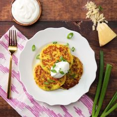 Cheesy spaghetti squash fritters make the perfect light meal or side dish.