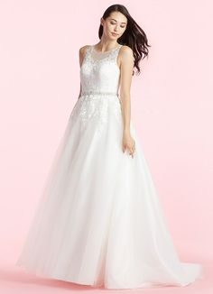 AZAZIE WINNIE BG. Winnie is a lovely, ethereal a-line gown with illusion neckline and delicate lace appliques gracing the bodice and waistline. #Bride #Wedding #CustomDresses #AZAZIE