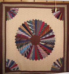 This is a memory necktie quilt I madefor someone else. If I won the chevron fabric Gall Star Quilt company I would make something just for me. Dresden Quilt, Dresden Plate, Tie Crafts, Sewing Crafts, Quilting Projects, Sewing Projects, Quilting Ideas, Diy Projects, Necktie Quilt