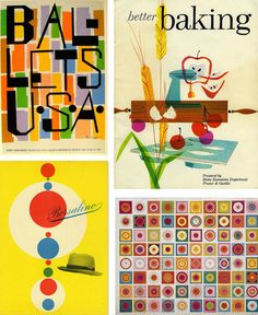 Mid Century: bright & vivid color palette, plenty of white space, fun & expressive illustrations, vibrant & whimsical compositions