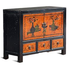 Chinese Orange Lacquer Mid Size Cabinet #ChineseFurniture
