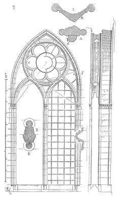 Meneaux fenetre cathedrale Reims