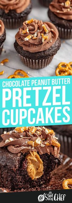 You haven't lived until you've eaten these chocolate peanut butter pretzel cupcakes. The salty peanut butter mixed with the creamy, sweet chocolate and crunchy pretzels will blow your mind! Peanut Butter Filled Cupcakes, Chocolate Cupcakes Filled, Peanut Butter Pretzel, Peanut Butter Filling, Cupcake Flavors, Cupcake Recipes, Cupcake Cakes, Dessert Recipes, Butter Cupcake Recipe