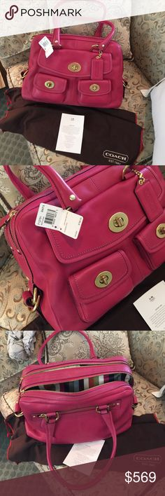 Coach All Leather Peyton NWT Gorgeous Authentic All Leather Peyton Satchel . Fuchsia color, more of a professional all season pink. Two zippered compartments, fabulous signature Coach stripped lining. Three front flap pockets, one back zip pocket Coach Bags Satchels