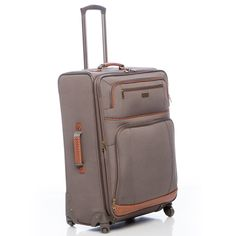 Complete with basketweave accents, this Tommy Bahama expandable luggage is perfect for your next trip. This spinner luggage features wheels, three different handles including a telescoping wand and plenty of pockets.