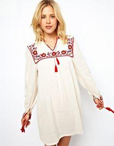 Image 1 ofASOS Smock Dress With Embroidery