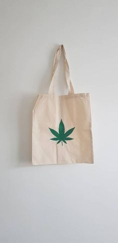 Hand Painted Ganja Leaf Shopping Bag, 100% Cotton, Eco Friendly, Hemp Leaf Shopping Bag, Green and White/Cream Cotton Bag, Unisex Bag