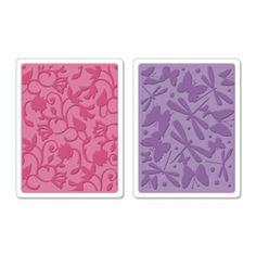 Sizzix Textured Impressions Embossing Folders 2PK - Swirls, Butterflies & Dragonflies Set $10.99