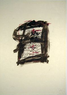 Artist: Antoni Tàpies, title: Pondering over dirt, technology: Color lithograph on Japanese paper