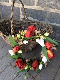 Tulip Garden Wreath by TheColonialDoorstep on Etsy