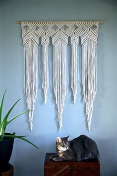 "Large Macrame Wall Hanging - Natural White Cotton Rope 36"" Dowel - Boho Home, Nursery Decor, Wedding Backdrop, Curtain - Ready To Ship by BermudaDream on Etsy https://www.etsy.com/au/listing/471127046/large-macrame-wall-hanging-natural-white"