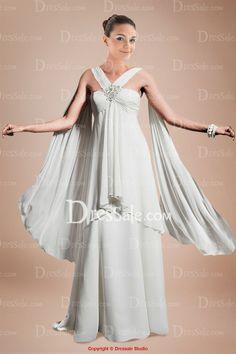 Distinguish Grecian Empire Wedding Dress with Pleats