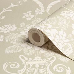 Statement Beatrice Olive & White Damask Wallpaper | Departments | DIY at B&Q