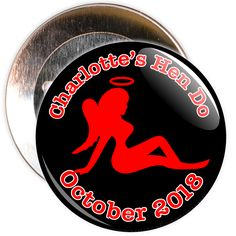 A customisable hen party devil badge. These badges are customised with the name of the hen and a month/year.
