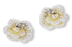 Calantha earrings with fancy light yellow, fancy yellow and white diamond earrings in yellow gold