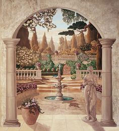 Bella Fontana was originally a X oil painting, designed to recall the famous gardens of Italy. Mural Wall Art, Tile Murals, Mural Painting, Painting Canvas, Paintings, Fantasy Landscape, Landscape Art, Foto Poster, Fantasy Castle
