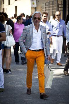 Bright Orange Pants x Grey Plaid Blazer men's fashion