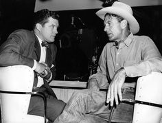 "Dennis Morgan and Gary Cooper on the set of ""It?s a Great Feeling"" in 1949"
