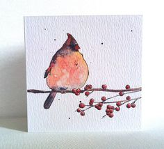 Cardinal on Branch Card from Original Illustration by PebbleandBee, £2.80