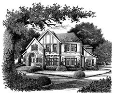 Tudor House Plan with 2900 Square Feet and 4 Bedrooms(s) from Dream Home Source | House Plan Code DHSW42431