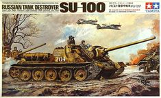 "Tamiya Russian Tank SU-100 1/25 Scale ""Remote Control"" Vintage Classic Model Series."