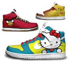 Custom Painted Nike Dunks (Hello Kitty, Angry Birds, Pikachu, and more)