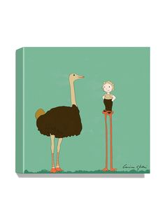 Ostrich Canvas Print by Magic World of Uti Artwork