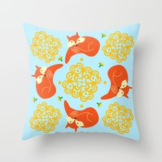 Sophisticated Fox / Yellow Throw Pillow